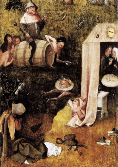 Bosch, Hieronymus: Allegory of Gluttony and Lust. Fine Art Print/Poster. Sizes: A4/A3/A2/A1 (001445)